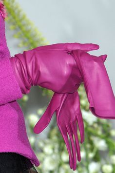 Fuchsia Pink Leather Gloves by Christian Dior at Couture Fall 2009 ....