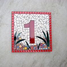 Custom Mosaic House Number Street Address Sign Plaque Bespoke Made to Order by FunkyMosaicsUK on Etsy