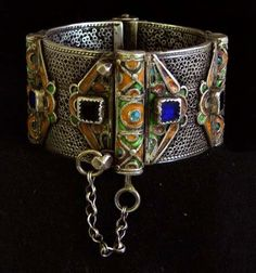 Morocco | Silver Berber enameled bracelet from Tiznit | Silver (content unknown) and enamel | Late 19th century