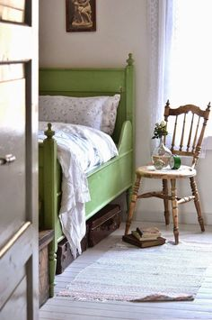 Beautiful green wooden vintage bed #greenbed