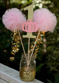 Pink and Gold Birthday Decorations – Princess Centerpiece – Pink and Gold Centerpiece with Custom Number and Pom Pom Wands - Birthday Party 2 Unicorn Birthday, Unicorn Party, Girl Birthday, Birthday Table, Birthday Ideas, Birthday Crowns, Birthday Diy, Gold Party, Glitter Party
