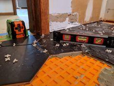 How to lay big hexagon tile!: Week 3 of the One Room Challenge / Create / Enjoy Large Hexagon Floor Tile, Hexagon Tiles, Tile Floor, Hex Tile, Tile Saw, Tile Leveling System, Hallway Flooring, Easy Animals, Bathroom Layout