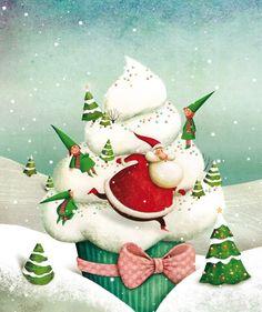 Marie Desbons - Christmas cupcake art Plus Noel Christmas, Christmas Pictures, Winter Christmas, All Things Christmas, Vintage Christmas, Christmas Crafts, Christmas Decorations, Xmas, Christmas Ornaments