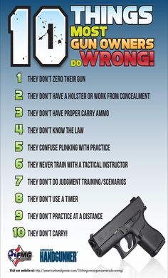 Things gun owners do wrong Home Defense, Self Defense, Gun Quotes, Tactical Pistol, Tactical Training, Concealed Carry Holsters, Target Practice, Military Guns, Personal Defense