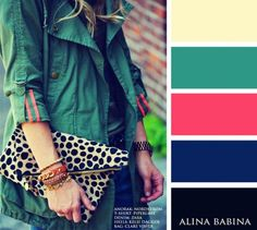 Green, coral and print clutch