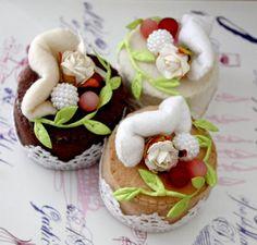 SALE Handmade Felt Cake - Venetian Flair - Tea Party Dessert Toy or Home Decoration. $12.00, via Etsy.