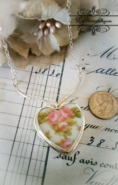 Antique Austrian Roses Broken China Jewelry Sterling V Necklace