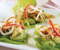 #GF Soft-shell crab lettuce wraps with pickled vegetables and avocado-lime leaf crema, from Plate's new Gluten-Free issue. Recipe by Clint Wangsnes; photo by Chris Cassidy.