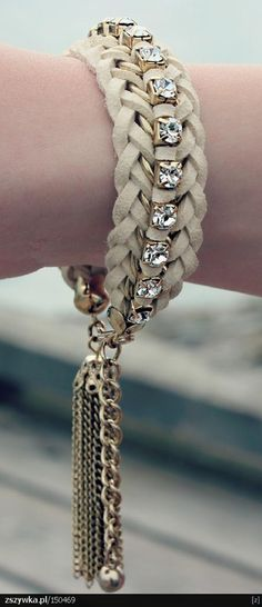 leather gem bracelet ♥✤ | Keep the Glamour | BeStayBeautiful