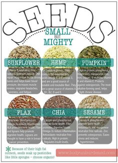 seeds: sunflower, hemp, pumpkin, flax, chia and sesame - worth adding to oats #plantbased