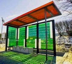 """Bottlestop"" Bus Stop - made of recycled soft drink bottles"