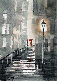 Original Signed Watercolour Painting - Red Umbrella, City Steps ~ By KJ CARR Umbrella Painting, Rain Painting, Umbrella Art, Watercolor Art Paintings, City Painting, Painting & Drawing, Rain Art, Parasols, Funny Art