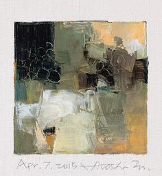 Apr. 7, 2015 - Original Abstract Oil Painting - 9x9 painting (9 x 9 cm - app. 4 x 4 inch) with 8 x 10 inch mat