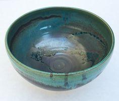 Wheel-thrown large bowl with variegated Gun Metal by SpinningSong