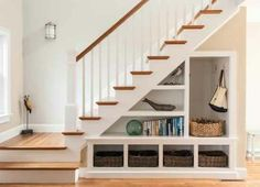 17 Under Stairs Storage Ideas For Small Spaces One of my favorite features of their home is a grand staircase right past the front door that has some awkward storage space underneath.Hasil gambar untuk Under Stair Storage Ideas Staircase Storage, Staircase Design, Spiral Staircase, Stair Design, Flat Design, Small Staircase, Entryway Storage, Cottage Staircase, Staircase Bookshelf