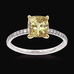 1.35 carat canary diamond ring solitaire with accents