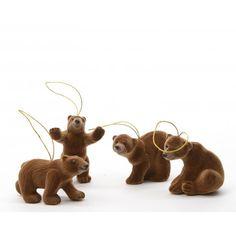 Lot de 4 ours de Noel à susprendre MARRON sur Izaneo