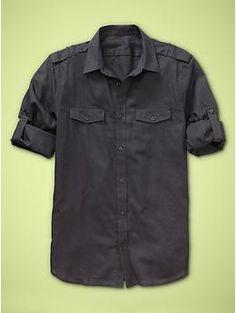 navy convertible long / short sleeve men's shirt