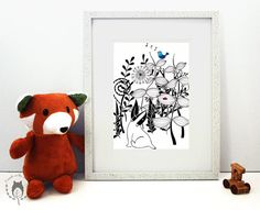The Badger and the Bird monochrome ink illustration by Friends in the Leaves. Nursery decor.