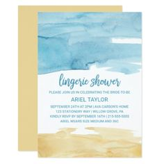 #wedding - #Watercolor Sand and Sea Lingerie Shower Card