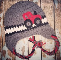 A personal favorite from my Etsy shop https://www.etsy.com/listing/252108311/crochet-red-tractor-hat