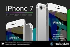 Iphone 7 Mockup Angled White Graphics **Iphone 7 Mockup Ready for Photoshop - White Silver Angled Left and Right Version**Created for pr by mockuptain Web Mockup, Mockup Templates, Design Templates, Graphic Design Tips, Ux Design, Black Iphone 7, Mobile Mockup, Mockup Photoshop, Artwork Images