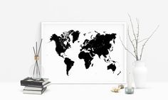 Large world map Black Printable map of world Nordic art