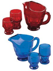Georgian Tumblers & Pitcher /Mosser Glass In Vibrant Ruby Red & Brilliant Cobalt Blue -- Hand-Pressed, Handcrafted American Quality Since 1971   For 40 years family-owned and operated Mosser Glass has been handcrafting elegant yet durable glassware to be used in today's home and passed down to the next generation. Each piece of this glassware captures the light for a brilliant effect. Available in Ruby Red and Cobalt Blue