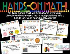Use everyday objects and math manipulatives to create year round math center (40 task cards)