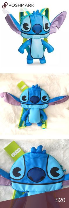 """Disney mxyz Lilo & Stitch Child Backpack Brand new with tags. How cute is this Disney mxyz Lilo & Stitch Stuffed Child Backpack? Any Stitch fan will love this! Love how the ears pop out! Has 1 zippered compartment. Adjustable buckle shoulder straps. Fashioned in nylon, Experiment 626's stuffed body is topped with his large head which is ready to hold all your essentials while keeping an eye out for who's behind you. Measures 24"""" from ear to ear, 14"""" H and 2.5"""" D. Disney Accessories Bags"""