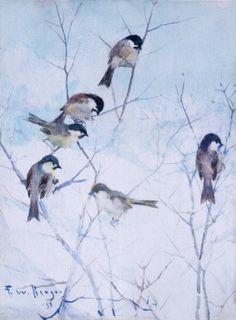 Frank Weston Benson, <em>Chickadees</em>, 1938, watercolor on paper