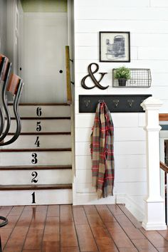 Numbered stairs and plank wall - www.goldenboysandme.com