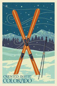 Crested Butte, Colorado - Crossed Skis - Letterpress - Lantern Press Poster