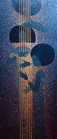 Arada with Bati. Ethiopian artist Getahun Assefa Balcha. Reminiscent of Klimt to me :)