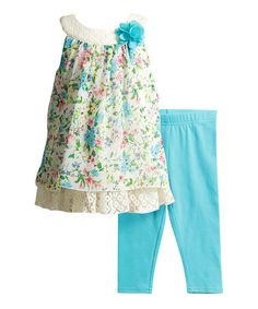 This Ivory & Blue Floral Chiffon-Overlay Dress & Leggings - Infant & Toddler is perfect! #zulilyfinds