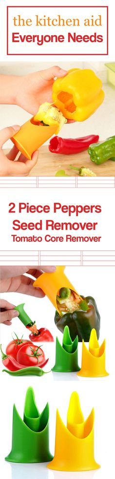 This is a 2 piece Pepper seed remover and Tomato core remover. With 2 sizes of cores, the large one being for bell peppers and tomatoes, and the small one being for Mexican chili peppers and other pep