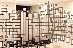 A distinctive city grid inspires a playful yet sophisticated workplace Office Interior Design, Office Interiors, Window Design, Wall Design, Glass Film Design, Glass Partition Designs, Decoration Vitrine, Environmental Graphic Design, Window Graphics