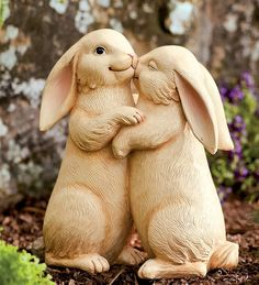 Add an adorable touch to their garden decor with this charming statue. Featuring two bunnies giving each other some snuggles, this heartwarming statue is the perfect decoration to bring their outdoor . Garden Deco, Garden Art, Rabbit Sculpture, Sculpture Garden, Rabbit Garden, Ceramic Animals, Garden Statues, Selling Art, Snuggles