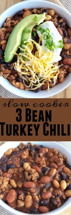 Slow Cooker 3 Bean Chili. Let the crock pot do all the work for a warm, hearty, meaty bowl of chili. Top with cheese, sour cream, avocado, and green onions for the best bowl of chili!
