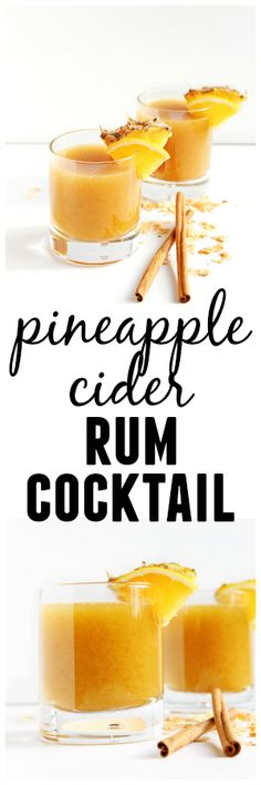 Pineapple cider rum cocktail recipe! Pineapple juice is mulled with cinnamon, orange, coconut, and other spices, then chilled and mixed with dark spiced rum. Such an awesome Fall or Winter cocktail!