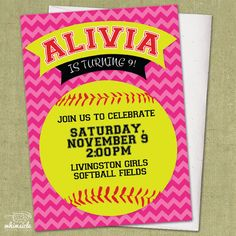 Chevron Softball Invitation  DIY Printable  by whimsicledesign, $12.00