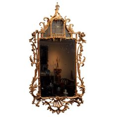 Chippendale Looking Glass Antique Furniture, Cool Furniture, Wood Mirror, Wall Mirrors, Vintage Vignettes, Baroque Decor, Vintage Mirrors, Shabby Chic Cottage, Neoclassical