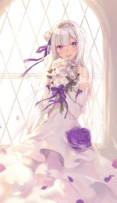 Anime picture with re:zero kara hajimeru isekai seikatsu emilia (re:zero) shouin long hair single tall image blush looking at viewer open mouth smile fringe purple eyes bare shoulders standing silver hair hair flower sunlight wind teeth blunt bangs Anime Chibi, Kawaii Anime, Manga Anime, Anime Art, Anime Style, Dm Foto, Zero Wallpaper, Grimgar, Anime Wedding