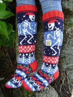 Spooky Christmas Socks / Karmeat joulusukat pattern by Lumi Karmitsa Knitting For Kids, Knitting Socks, Knitting Projects, Knit Socks, Holiday Crafts, Fiber Art, Mittens, Ravelry, Free Pattern