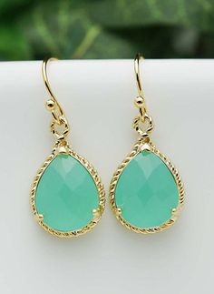 Bridal Earrings Bridesmaid Earrings Mint Opal