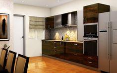 HomeLane: Full Home Interior Design Solutions, Get Instant Quotes. Modern Kitchen Cabinets, Kitchen Drawers, Straight Kitchen, Overhead Storage, First Kitchen, Compact Kitchen, Creative Home, Home Interior Design, Kitchen Design