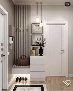 Home Hall Design, Home Interior Design, Interior Architecture, House Design, Modern Apartment Decor, Apartment Interior, Apartment Design, Home Entrance Decor, Hallway Furniture