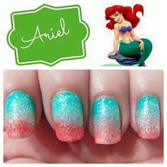 Ariel [as a mermaid] (Nails by Unknown) #TheLittleMermaid