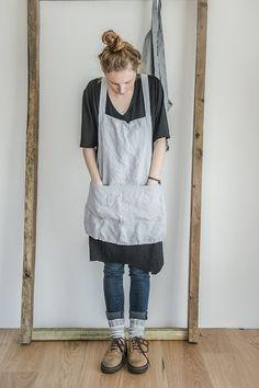 Short square cross linen apron/japanese style by notPERFECTLINEN