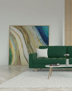 White rug with green couch. Take a look at another rug and green couch combination ideas on roomdsign.com Sage Green Rug, Green Sofa, Yellow Rug, White Rug, Pink Rug, Living Room Green, Living Room Decor, Living Room Stands, Green Furniture